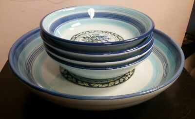 TRE CI HIMARK Pasta Bowls Made In Italy Dinner Set Hand painted Blue ...
