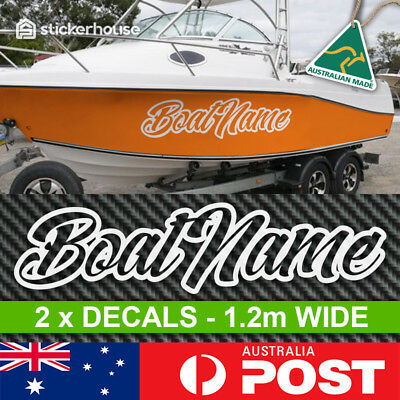 2 x Boat Name Stickers Decals 1.2m Wide Rego Letters Numbers Marine Custom