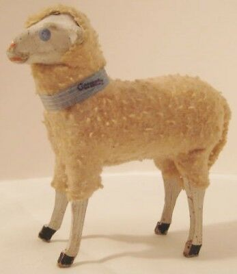 """Old 1920s German Wooly Sheep for Christmas Putz Village 3 1/2"""" tall w/collar"""