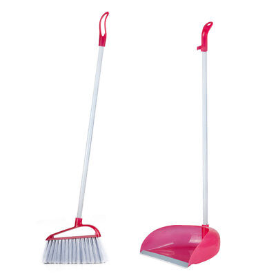 Upright Long Handle Handled Dustpan Brush Set Sweeper Cleaner Garden Broom Clip