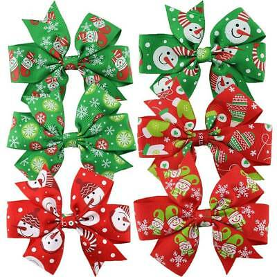 6Pcs/set Christmas Baby Girls Flower Bow Knot Hair Clips Decoration Accessories