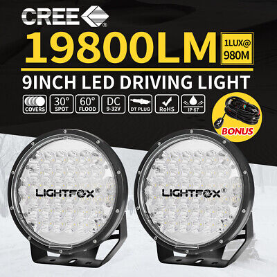 Pair 9 inch CREE LED Driving Lights Spotlights Combo Round Offroad 4x4 Truck SUV