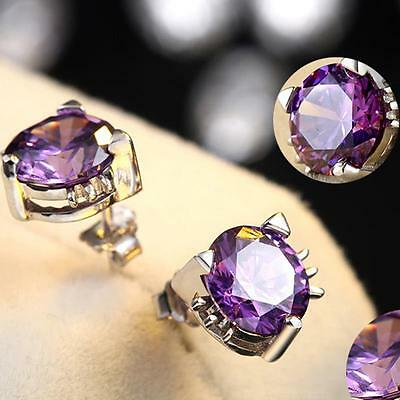 Women'S 925 Silver Earrings Amethyst Cat Ear Stud Fashion Elegant Jewelry Gift