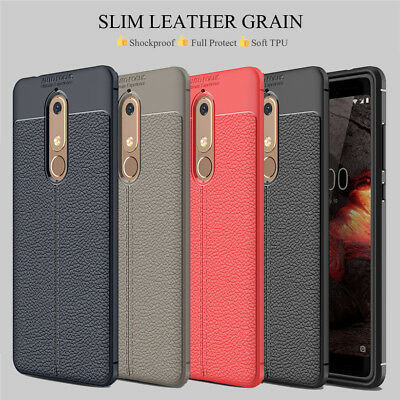 For Nokia 7.1 6.1 5.1 3.1 7 8 Shockproof Rubber Slim TPU Leather Back Case Cover