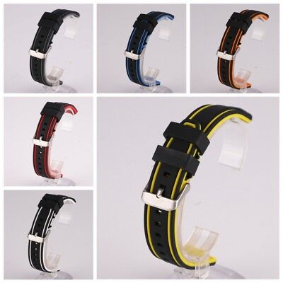 Unisex Chic Wristwatch Silicon Rubber Belt Replacement Double Color Watch Strap