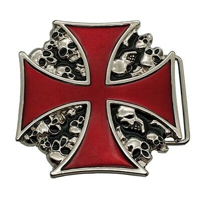 IRON//MALTESE CROSS WITH SPIDER WEB DESIGN BELT BUCKLE NEW