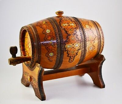 VINTAGE 1970s  WOODEN PYROGRAPHED HAND PAINTED Wooden FLASK CANTEEN KEG BARREL