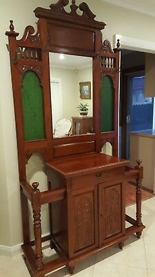 Vintage Style Solid Mahogany Hall Stand