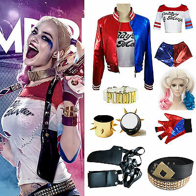 New Adult Cosplay Harley Quinn Ladies Costume FULL Set Halloween Suicide Squadot