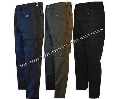 "New Mens Work Wear Cargo Combat Black/ Navy/Olive Trousers Pants 29""& 31"" Leg"