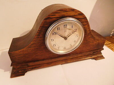 Antique German H.a.c  Sold Oak Cased Napoleon Hat Mantle Clock