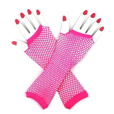 Neon Pink Fishnet Mesh Fingerless Gloves 80S 80'S Party Costume Accessory