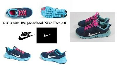 sports shoes b7346 56290 Nike Kids size 12c Free 5.0 Fusion Girls Pre School Running Shoe Brave Blue  Pink