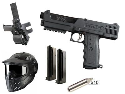 Paintball Set Tippmann TiPX Deluxe Pistol Kit, inkl. 10x CO2 + JT Maske