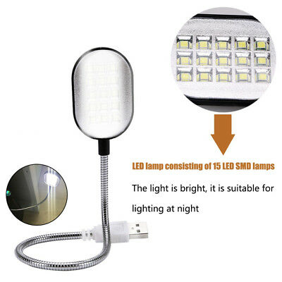Portable Flexible LED Clamp 15 LEDs Clip On Reading Book Light Lamp Rechargeable