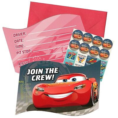Cars 3 Birthday Party Invitations Invites Pack Of 8 Stickers More