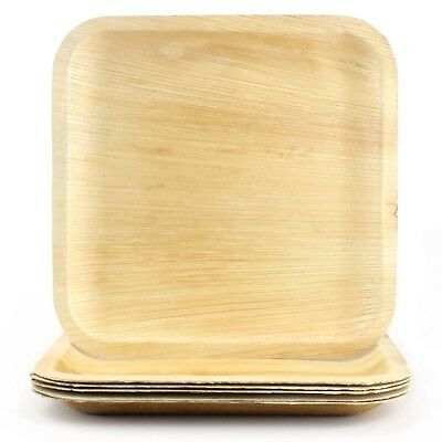 Natural Areca Palm Leaf Plates Large Square 6 Biodegradable Eco-Friendly Party