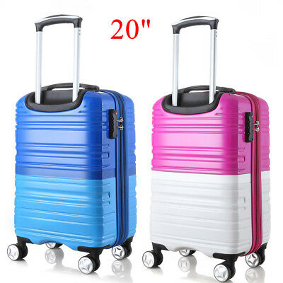 "20"" Expandable ABS Spinner Luggage Travel Trolley Suitcase Carry On Bag TSA Lock"