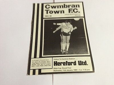 Cwmbran Town  v Hereford United Welsh Cup  January 1984