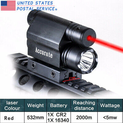 Tactical Combo Red Laser Sight CREE LED Flash Light For 20mm Rail Mount Pistol
