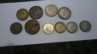 Lot of 10 British Coins,1922-1978. Silver, Pences ,Shillings,Pennies & More!