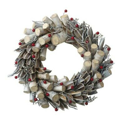 Natural Wood & Red Berry Christmas Wreath 28 cm Small Rustic Door Artificial