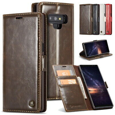 Genuine Leather Wallet Case Cover Card Holder Flip Stand For Samsung Note 9 8