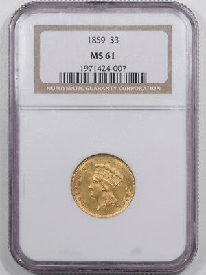 1859 $3 Dollar Gold Ngc Ms-61 Premium Quality!