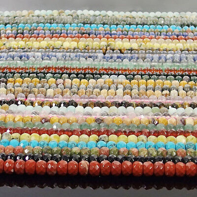 """Natural Gemstone Rondelle Spacer Beads 15"""" - 15.5"""" 4x6mm 5x8mm Smooth Faceted"""