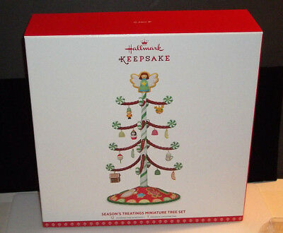 Hallmark 2017 Seasons Treatings Miniature Tree & Ornament Set  Mint Nib Repaint