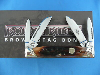 Rough Rider Brown Stag Bone Congress Knife Stainless Steel RR1796