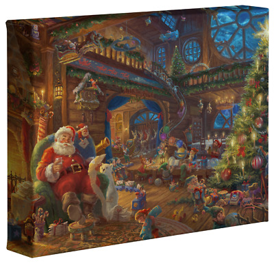 CLAUS CHRISTMAS NORT POLE CANVAS 20Wx24H SANTA/'S WORKSHOP by NORMAN ROCKWELL