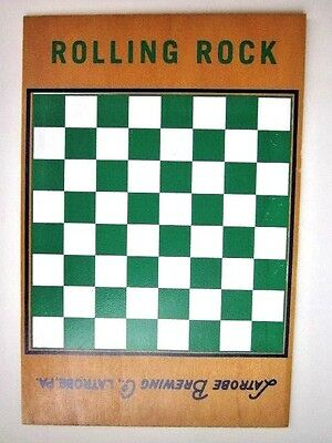 Vtg Rolling Rock Beer Latrobe Brewing Co Wood Chess Checker Board Ice Chest Top