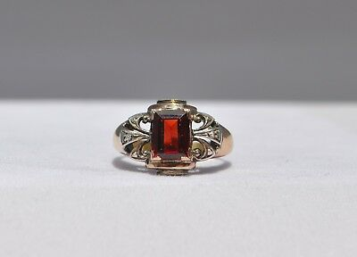 Old Antique 1800S French European 18K Solid Gold Natural Garnet & Diamond Ring