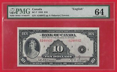 ✪ 1935 $10 Bank of Canada English Text Note BC-7 - PMG Choice UNC 64