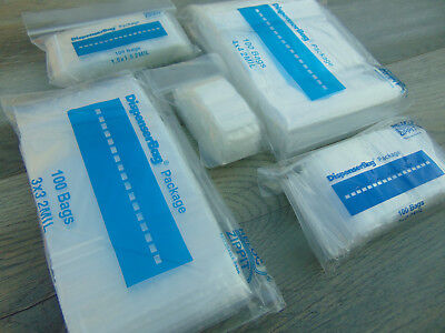 """ASSORTED ZIPLOCK BAGS 500 SQUARE SIZES 1"""" 1-1/2"""" 2"""" 3"""" 4"""" SQUARE CLEAR POLY 2Mil"""