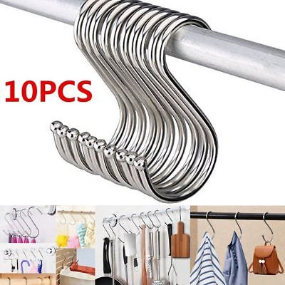 Set of 10 S Hook Chrome Kitchen Market Stall Camp Hang Butcher Meat Pot Pan Rail
