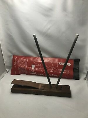 Vintage Kitchen Crock Stick 2 Rod Knife & Scissor Sharpener Sharpening Kit