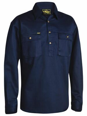 Bisley Workwear Cotton Drill Work Shirt Closed Front Long Sleeve BSC6433 Navy