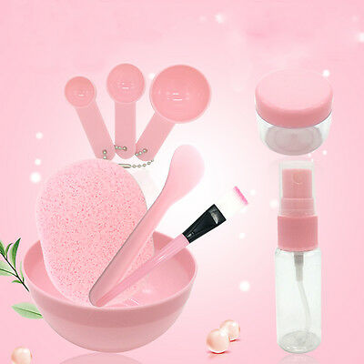 9in1 Pink Facial Mask Mixing Bowl Kit Brush Spoon Stick Tool DIY Skin Face Care