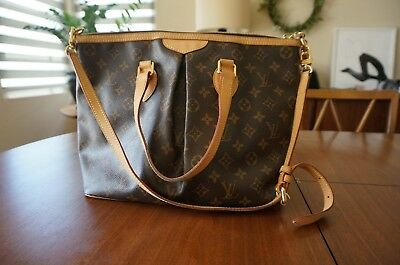 AUTHENTIC LOUIS VUITTON Brown Monogram Palermo PM Shoulder Bag ... 11b22a37439de