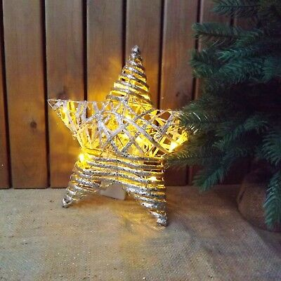 Gold Glitter Rattan Wood LED Light Up Star Christmas Wedding Tree Decoration