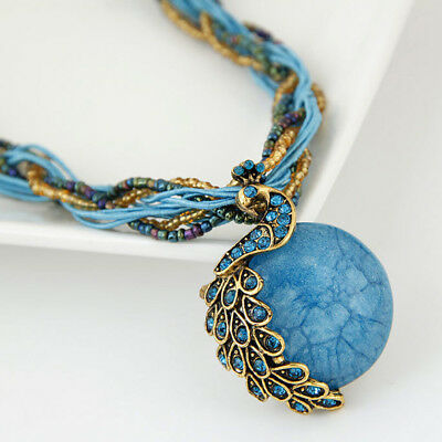 Bohemian Style Women Vintage Peacock Animal Pendant Statement Necklace Jewellery