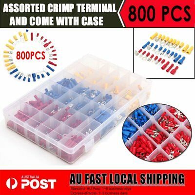 800Pcs Assorted Insulated Electrical Wire Terminal Crimp Spade Connector Kit AUS