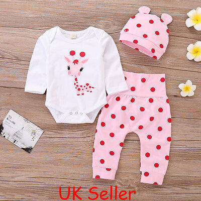 UK Newborn Baby Girls Clothes Romper Shirt Tops+Pants Leggings+Hat Outfits Set