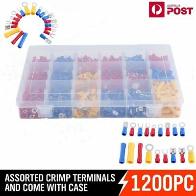 1200PCS Assorted Insulated Electrical Wire Terminal Crimp Port Connector Kit AU%