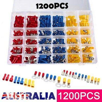 1200PCS Assorted Insulated Electrical Wire Terminal Crimp Port Connector Kit AU#