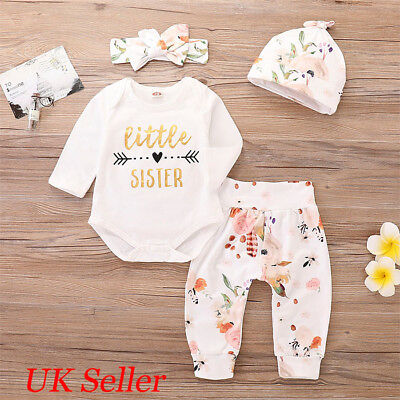 Newborn Baby Girls Floral 4pcs Clothes Jumpsuit Romper Bodysuit Pants Outfit Set