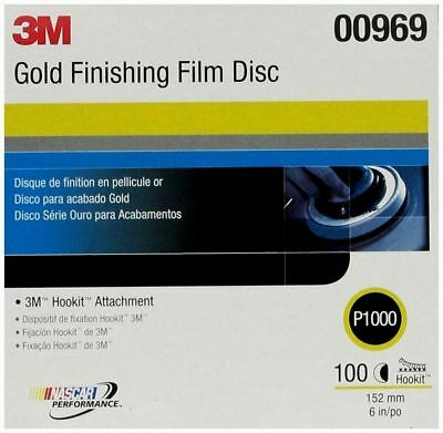 "3M 00969 Hookit 6"" Gold Finishing Film Disc, P1000 Grit (Box of 100)"