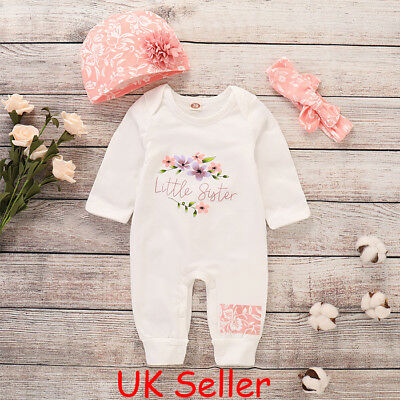 Newborn Baby Girl Little Sister Romper Bodysuit Jumpsuit Playsuit Clothes Outfit
